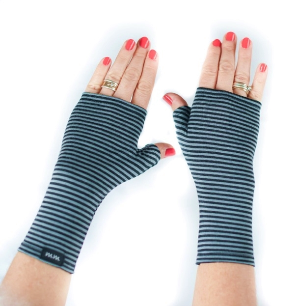Black & Grey Stripe Fingerless Gloves